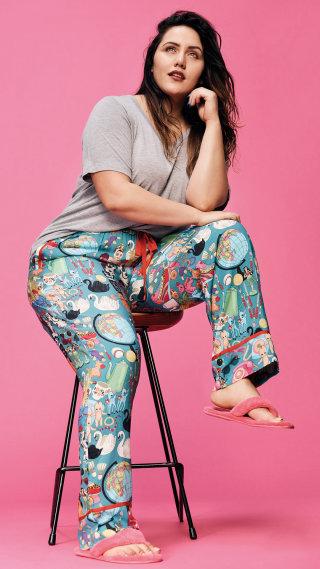 Model wearing Silk Pyjamas designed by karen mabon