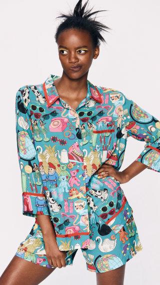 Short sleeved sleepwear silk paijama sets with shorts