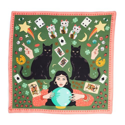Lucky Day Black Cat Maneki Neko Silk Scarf in Olive