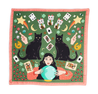 Lucky Day Black Cat Maneki Neko Silk Scarf in Olive