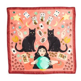 Lucky Day Black Cat Maneki Neko Silk Scarf in pink