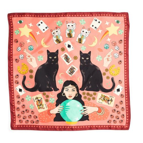 Lucky Day Black Cat Maneki Neko Silk Scarf in pink