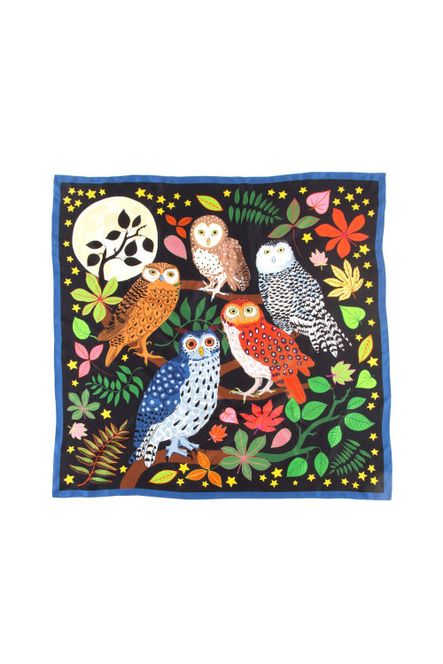 Parliament of Night Owls printed on Silk Scarf