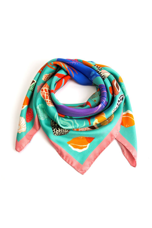 Oyesters and seashells printed on Silk scarf