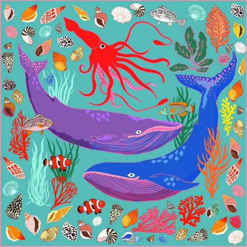 Squid and whale print by Karen Mabon