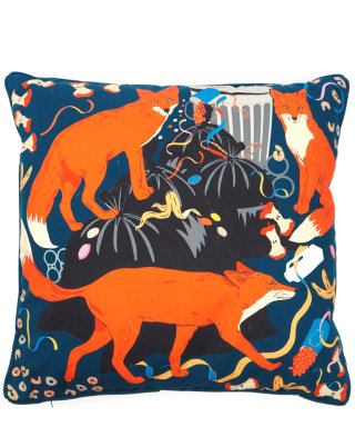 Midnight feast -foxes scavenging in bins washable cushion