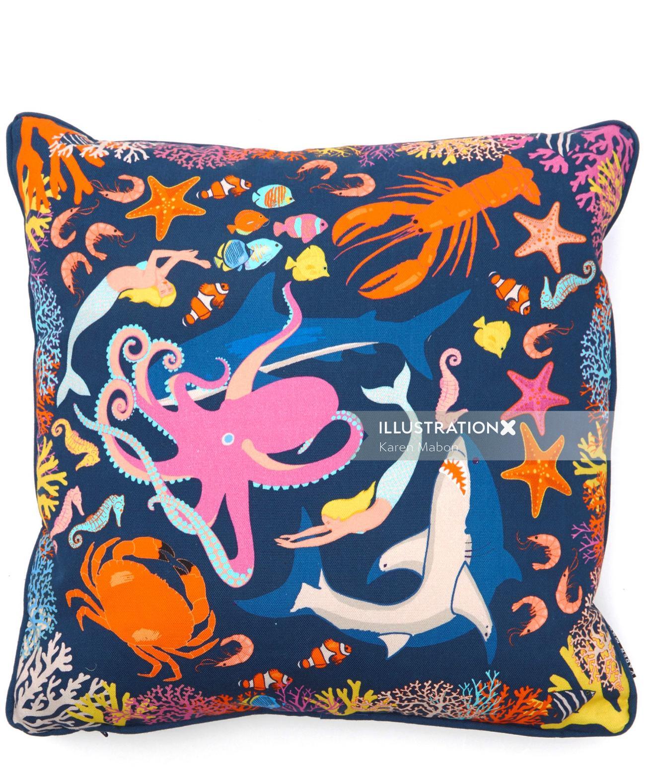 Illustration of Under the sea cushion
