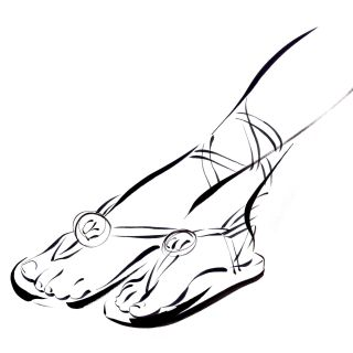 Line art of lady feet