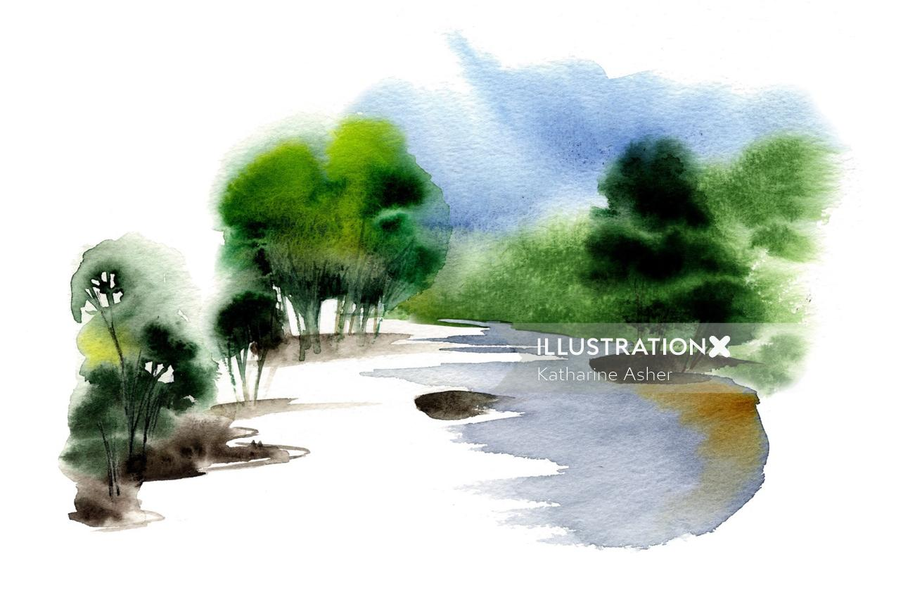 hand drawn illustration of McCLELLANDS WHISKY Scottish Lake