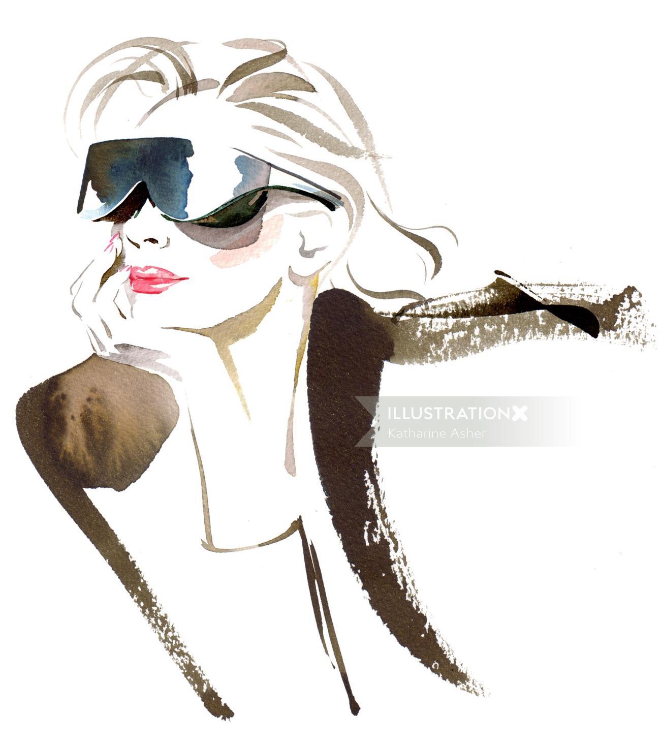 Line drawing of stylish woman