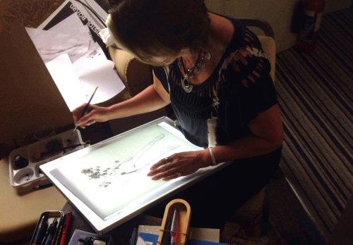 Katharine Asher illustrating in live event