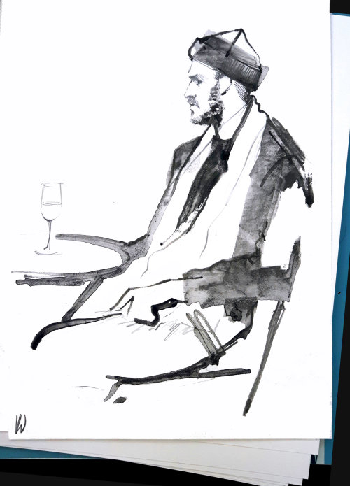 pencil made illustration of man at California Wine Event