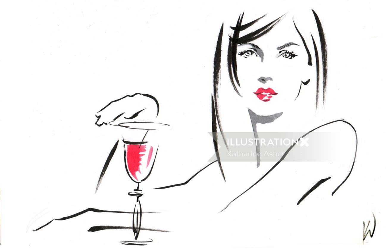 Live Event sketch of woman at California Wines