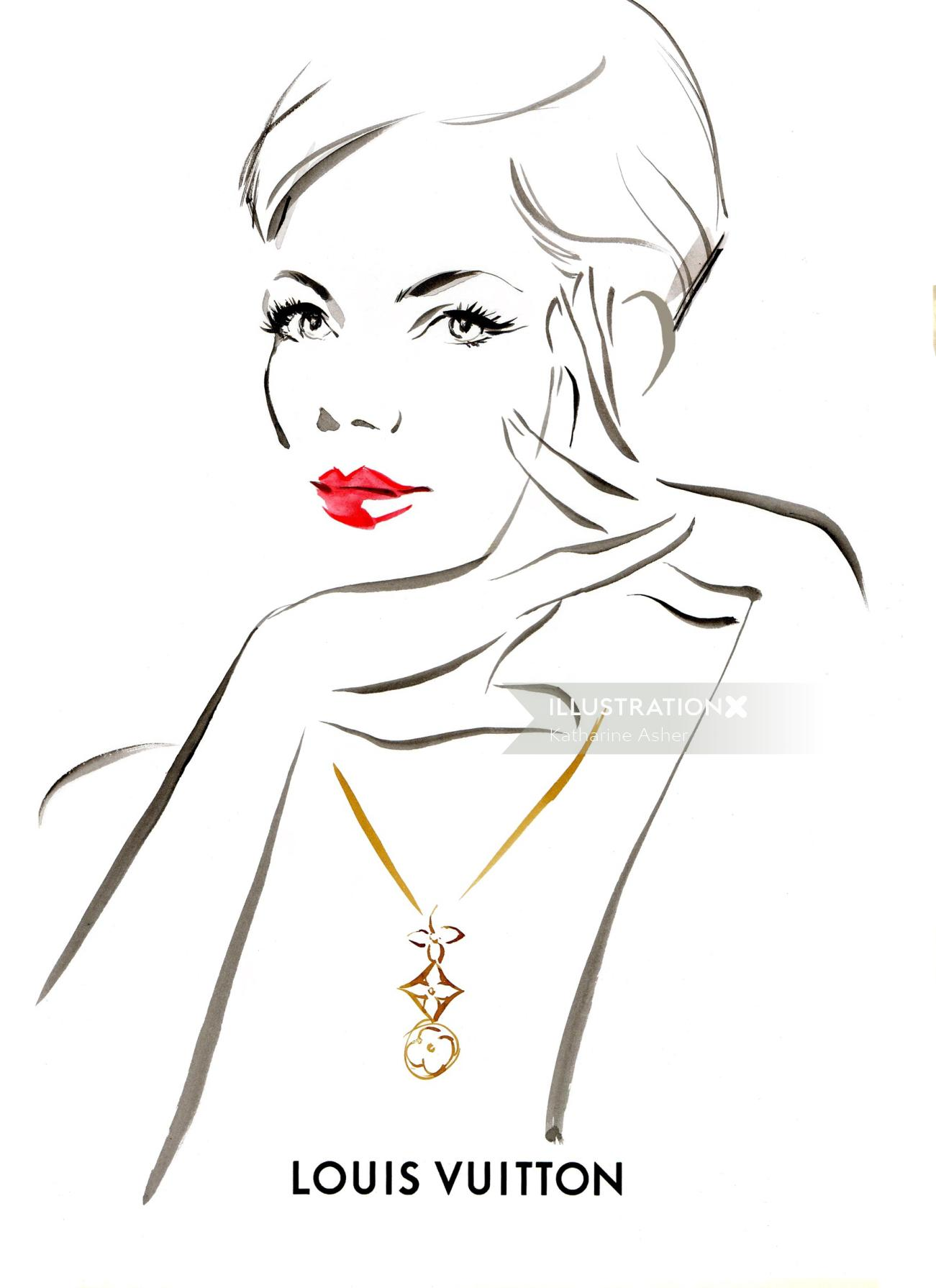 Line drawing of a beautiful lady