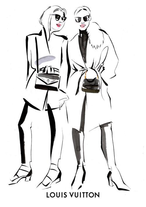 Black and white illustration Two fashion women