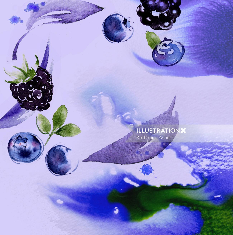 Blackberries & Blueberries Watercolour Painting