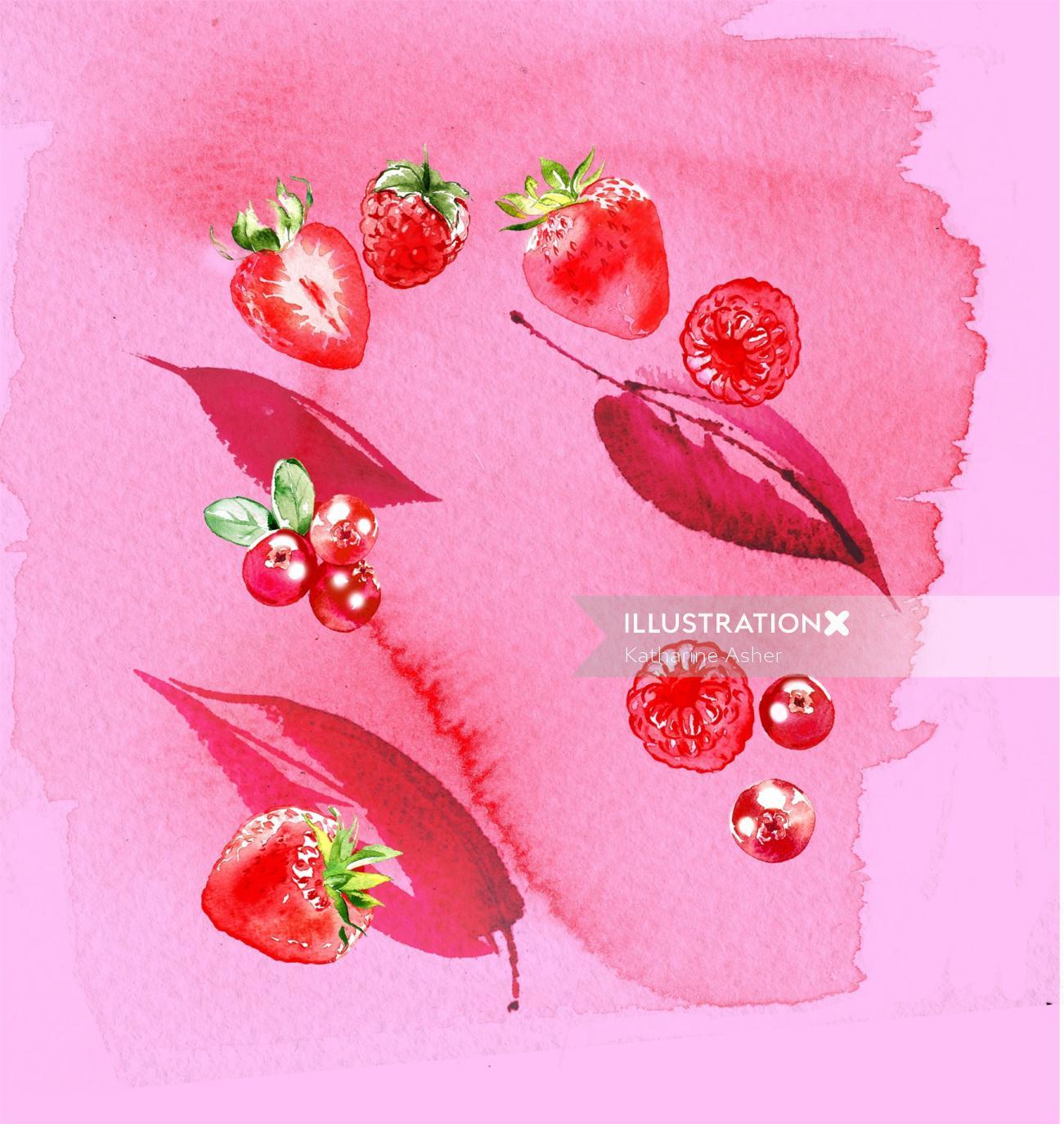 Strawberry lips illustration