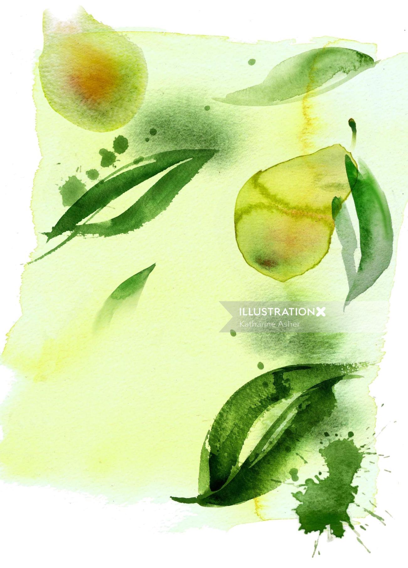 Avocado lips line art by Katharine Asher