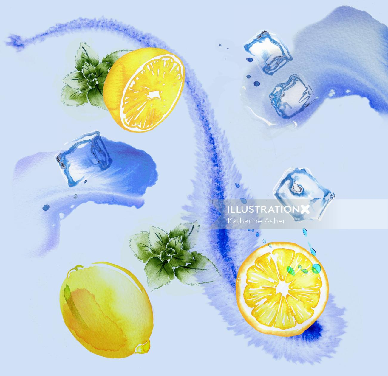 Lemon & Mint Iced Tea watercolor painting