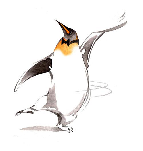 Conception de personnage de pingouin dansant