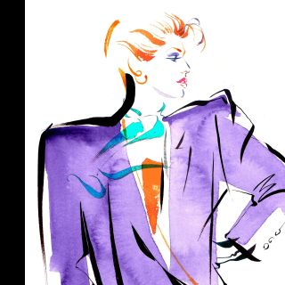 Retro fashion art for Jersey Stamps