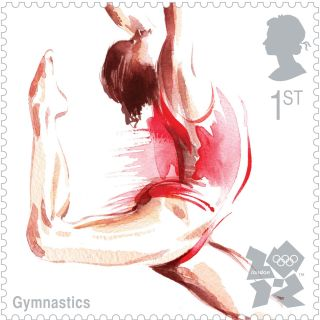 Line art of female athlete performing in London Olympics