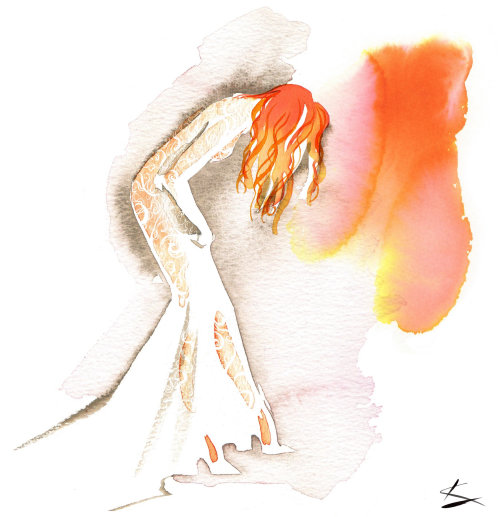 watercolor drawing of woman