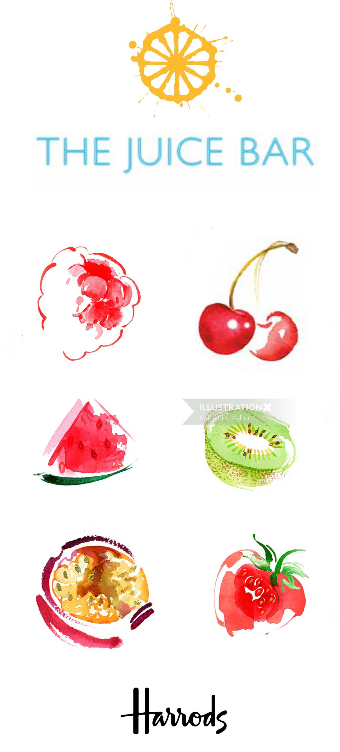 HARRODS - Juice Bar Menu watercolor illustration
