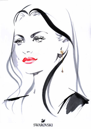 Line art of the model wearing earrings