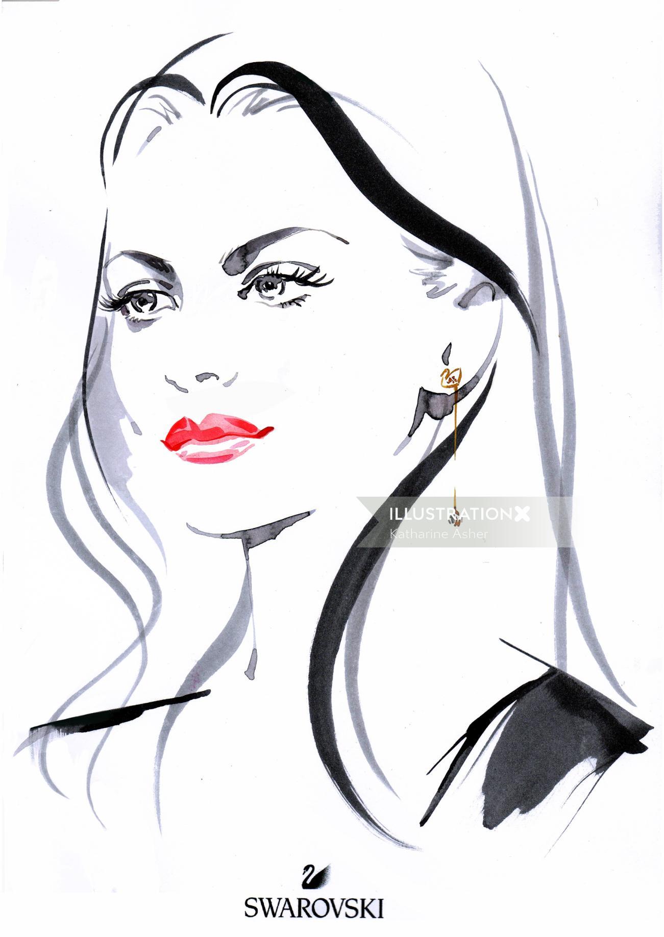Line art of the model wearing earrings