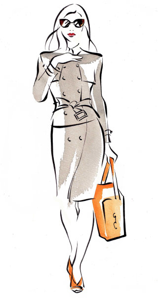 Line art of fashion woman