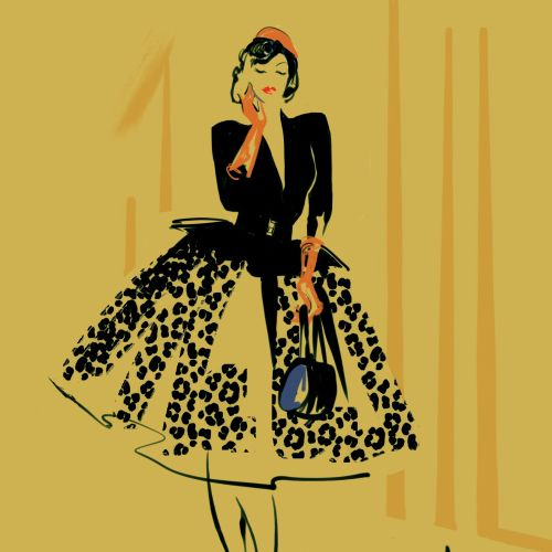 Fashion illustration of Stella Rose Cherry - the fab 40's Queen