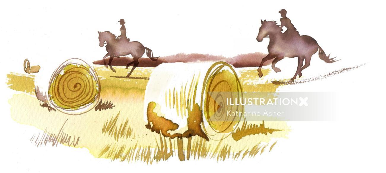 Horse riding man Illustration by Katharine Asher