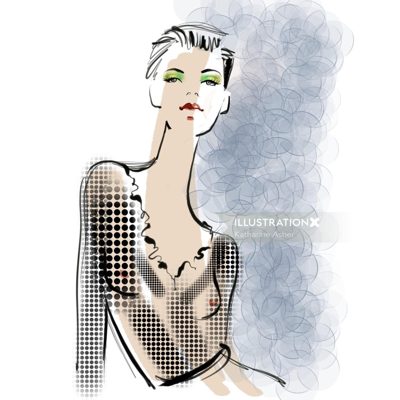 Digital fashion portrait of woman