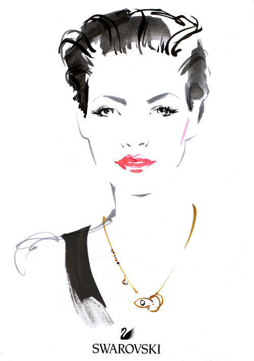 Dibujo en vivo de una mujer en Swarvoski - Oxford Street