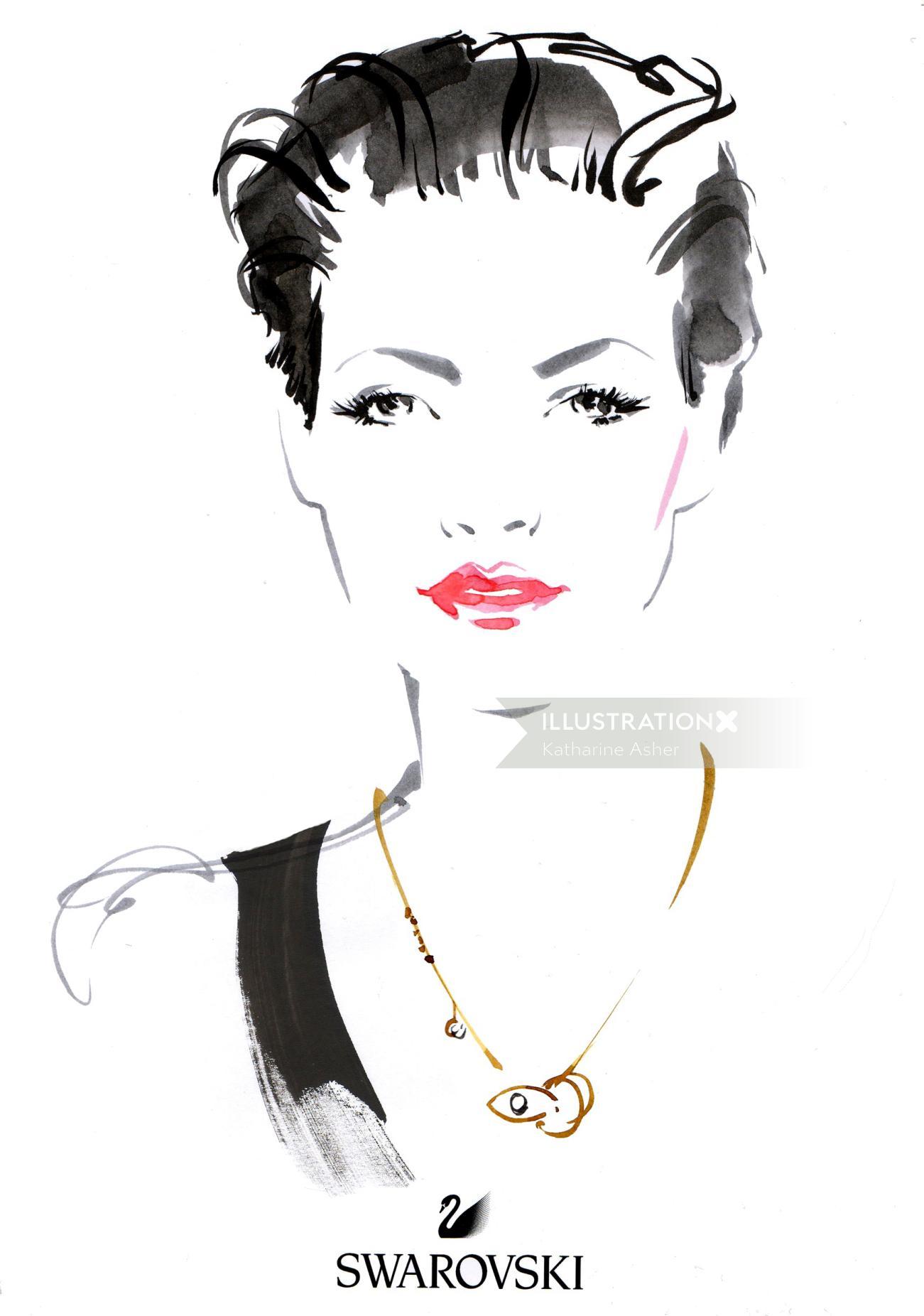 Live drawing of woman at Swarvoski - Oxford Street