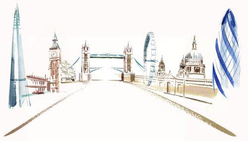 Central London key buildings line art