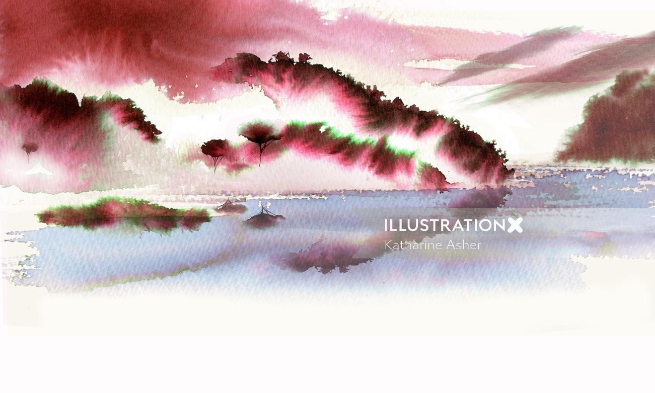 Jing Teas watercolour Red Dragon Painting