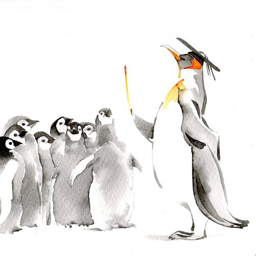 Watercolor illustration of Cute Penguins