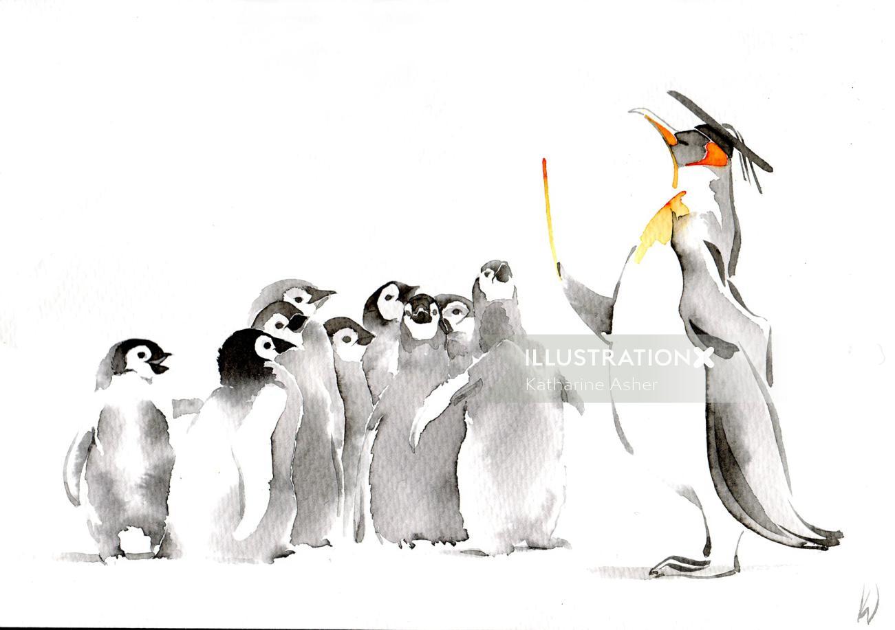 Watercolor illustration of Cute Penguins