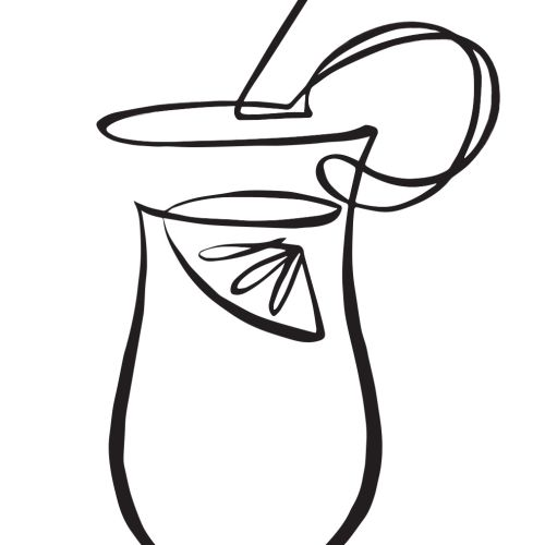 Cocktail in chutney mary black and white illustration