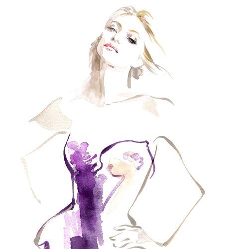 Yellowglen Wines Pink Moscato woman watercolour illustration