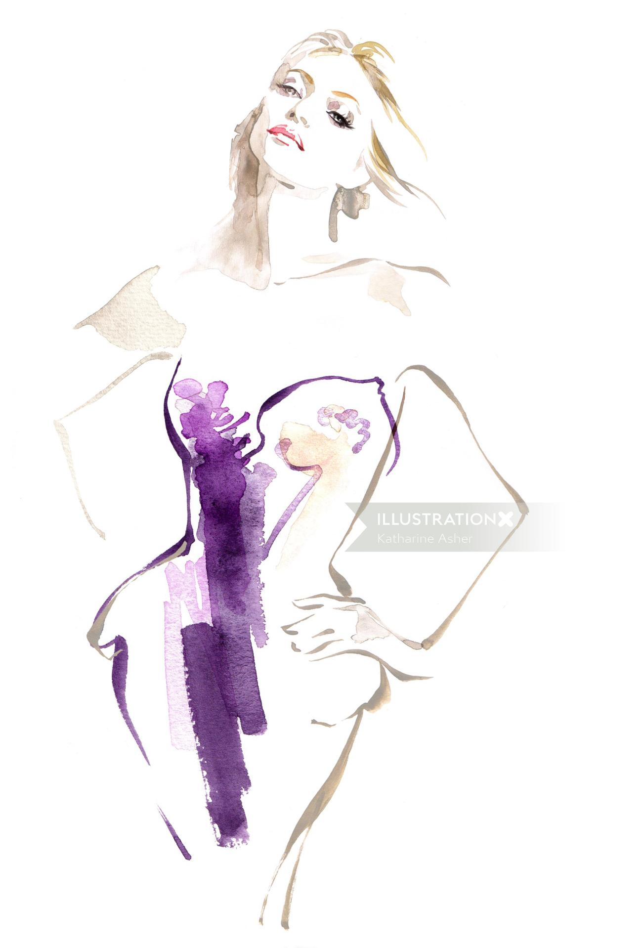 Yellowglen Wines Pink Moscato woman watercolour illustration