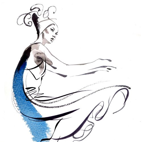 watercolor illustration of fashion dancing girl