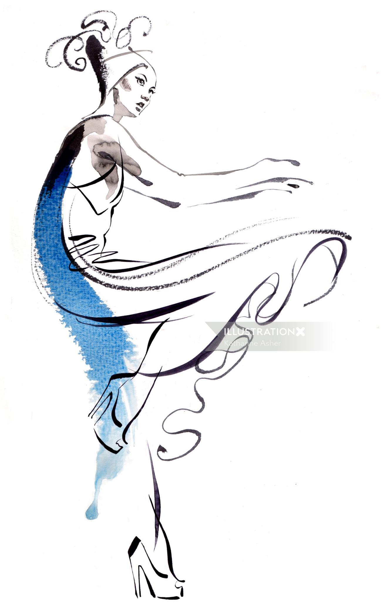 watercolor illustration of fashion dancing girl