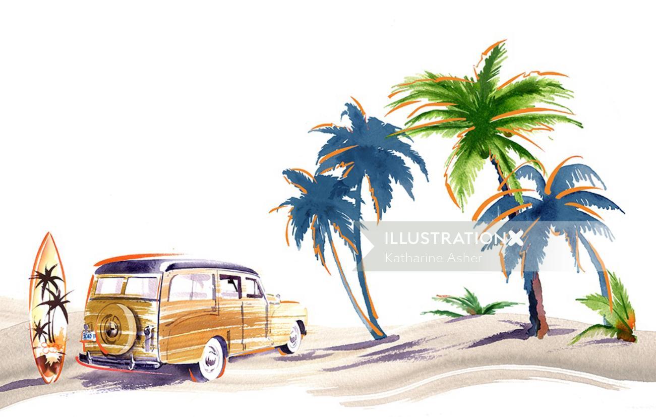 surfer van in beach line art