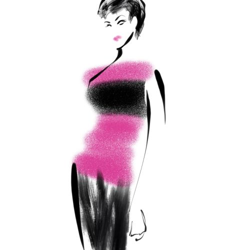 Bristol Fashion Week - a digital catwalk sketch in Procreate