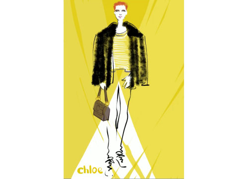 Digital live drawing for Chloe - new handbag range in Selfridges London