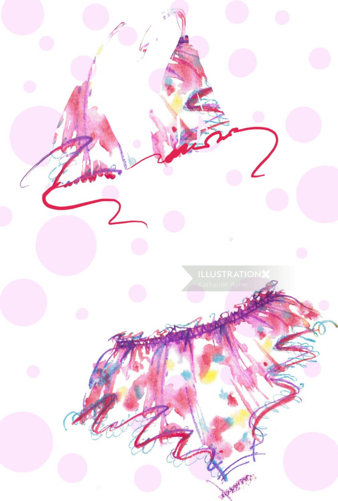 Fashion illustration for Angela Friedman luxury lingerie