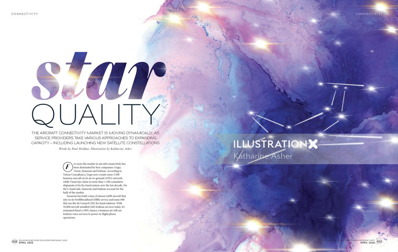 Space editorial illustration for Business Jet Magazin